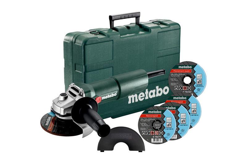 Elektrické nářadí - Metabo W 750-125 Set Úhlová bruska v kufru + 4 kotouče 603605680
