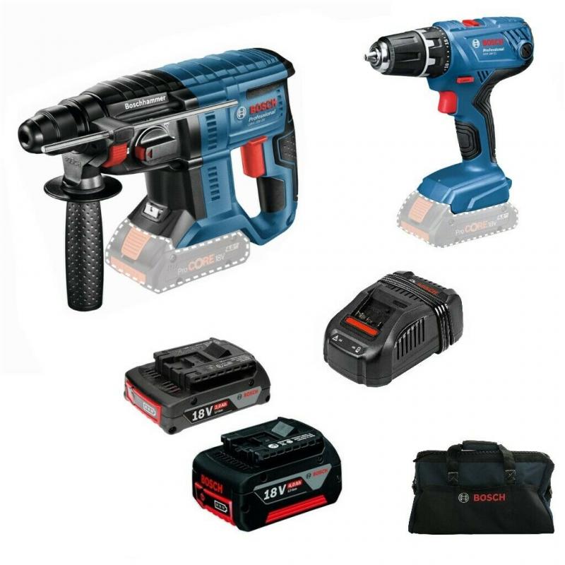 Aku nářadí - Bosch Professional GBH 18V-20 Aku kladivo + GSR 18V-21 Aku vrtačka s příklepem, 2,0Ah+4,0Ah, taška 0615990K3D