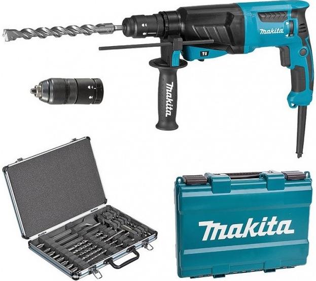Elektrické nářadí - Makita HR2630TX12 Kombinované kladivo s výměnným sklíčidlem 2,4J,800W + sada vrtáků a sekáčů