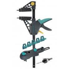 Wolfcraft SET TERASA – viditelné šrouby: svěrka, vrtací přípravek, vrták se záhlubníkem, 5 podložek 6988000