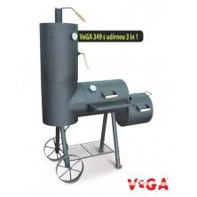 VeGA gril 349 Zahradní gril s udírnou na dřevo, dřevěné uhlí a brikety