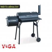 VeGA gril 72 Zahradní gril s udírnou na dřevo, dřevěné uhlí a brikety