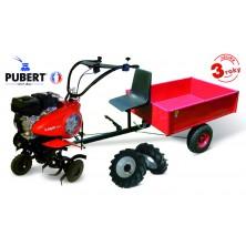 PUBERT VARIO 55P C3 Benzínový kultivátor + vozík VARES HV 220L + 2x šípová kola 450x10 s diferenciálem