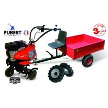 PUBERT VARIO 65B C3 Benzínový kultivátor + vozík VARES HV 220L + 2x šípová kola 450x10 s diferenciálem