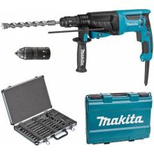 Makita HR2630TX12 Kombinované kladivo s výměnným sklíčidlem 2,4J,800W + sada vrtáků a sekáčů